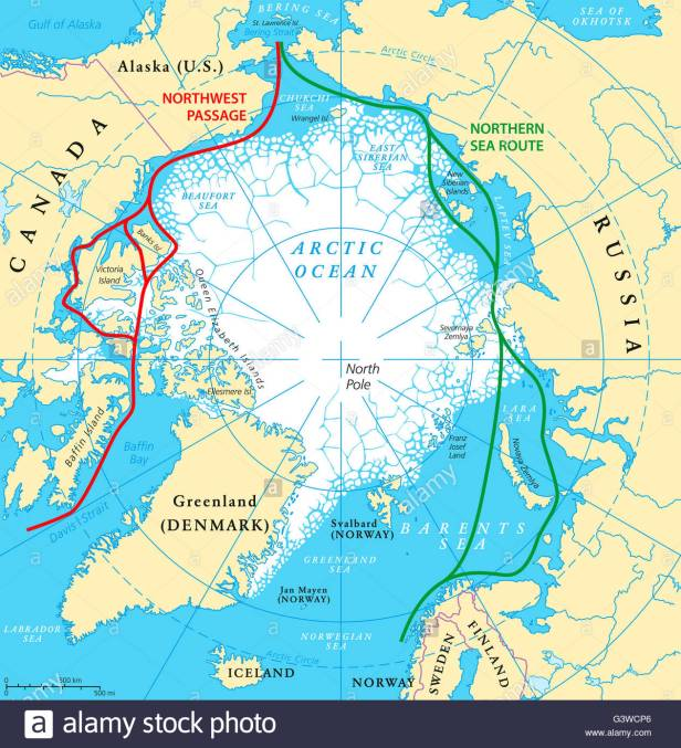 arctic-ocean-sea-routes-map-with-northwest-passage-and-northern-sea-G3WCP6